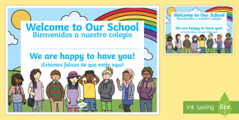 Welcome to Our School Certificate English/Spanish - Welcome, to, our, school, class, classroom, friends, new starter, new year, back to school, EAL, Spa