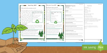 Earth Day Differentiated Reading Comprehension Activity - KS1, Earth Day, Environment, Pollution, Trees, Deforestation, Earth, Planet, Animals, Habitat, Carbo
