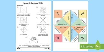Greetings Fortune Teller Activity Spanish  - Spanish,  KS2, greetings, game, fortune, teller, activity