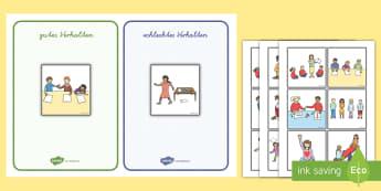 Gutes und schlechtes Verhalten im Klassenraum Karten zum Sortieren - Gutes und schlechtes Verhalten im Klassenzimmer Karten zum Sortieren, gutes und schlechtes Verhalten