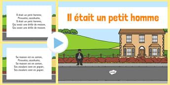 Comptine Il était un petit homme PowerPoint French - french, comptine, il etait un petit homme, powerpoint, nursery rhyme