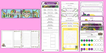 Mardi Gras K-2 Printable Resource Pack - Mardi Gras, Fat Tuesday, Shrove Tuesday, Carnival,
