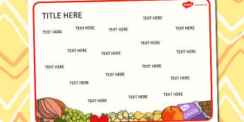 Food Themed Editable Word Mat - literacy, words, writing, mats