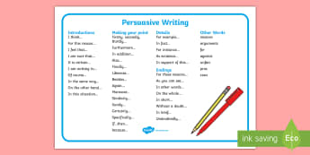 Persuasive Writing Word Mat - writing, write, word mat, keywords
