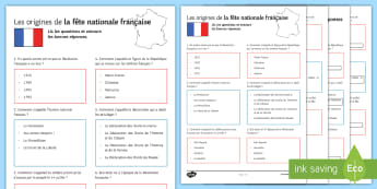 La fête nationale Quiz Activity Sheet French - French, Celebrations,fête, nationale, festival, 14th July, juillet, Bastille, worksheet, revolution
