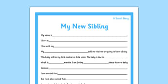 Social Story Sheet New Sibling Primary - social story, sheet, new sibling, primary