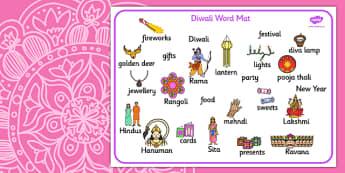 Diwali Word Mat - Word mat, writing aid, Diwali, religion, hindu, hanoman, rangoli, sita, ravana, pooja thali, rama, lakshmi, golden deer, diva lamp, sweets, new year, mendhi, fireworks, party, food, divali, divalli