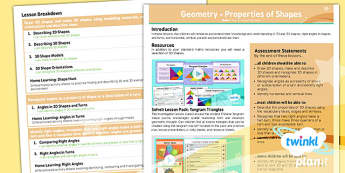 PlanIt Y3 Properties of Shape Unit Overview  - PlanIt, Properties of Shapes
