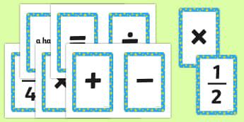 Maths Symbols Cards - math, symbol, numeracy, visual aid, visuals