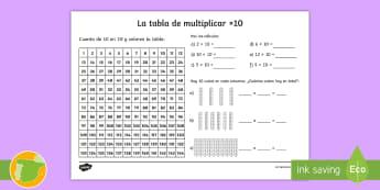 Ficha de actividad: La tabla de multiplicar x10 - tabla de multiplicar, múltiplos, ficha, mates, matemáticas, x10, por diez, multiplicar, multiplica