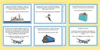 Travel Agent One and Two-Step Word Problems Role Play Challenge Cards - Number - Addition and Subtraction, addition, subtraction, add, subtract, two step, two step problems