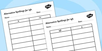 Alternative Spellings for igh Table Worksheets-alternative spellings, igh, worksheet, igh spellings, spellings table, spellings, different spellings