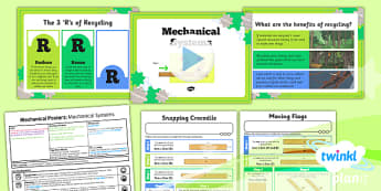 PlanIt - DT LKS2 - Mechanical Posters Lesson 1: Mechanical Systems Lesson Pack - planit, design and technology, Go Green, Eco, recycle, warrior, environment