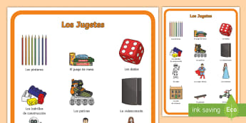 Toys Display Poster - Spanish, KS2, toys, display, poster, classroom