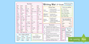 2nd Grade Writing Word Mat - US writing, writing guides, writing prompts,