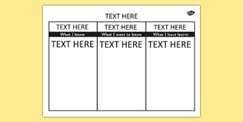 Editable KWL Grid - editable, kwl grid, word, know, learn, grid