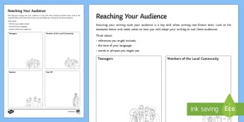 Reaching Your Audience Activity Sheet - AQA GCSE Specific Question Resources, structure, language, OCR GCSE Specific Question Resources, Edu