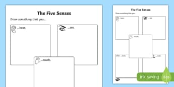 The Five Senses Drawing Activity Sheet, worksheet