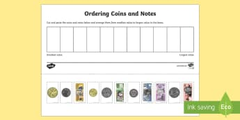 Ordering Coins and Notes Activity Sheet  - Australian currency, money, notes, coins, Australian curriculum, maths, ACMNA034 , worksheet, Austra