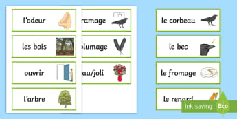 The Crow and the Fox Word Cards French - KS2, French, Fables, Jean De La Fontaine, The Crow and the Fox, Word Cards,,French