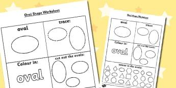 Oval Shape Worksheet - oval shape, worksheet, oval, shape, shapes