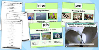 Adding Prefixes pre sub inter and semi SPaG Lesson Teaching Pack