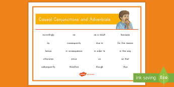 Causal Conjunctions and Adverbials Word Mat  - cause, effect, causal connective, grammar, explanation