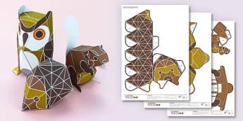 3D Woodland Animals Paper Model Printables - creatures, woods, animals, craft, modelling, design,