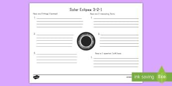 Solar Eclipse 3-2-1 Activity Sheet - solar eclipse 2017, earth, moon, sun, science, worksheet, space