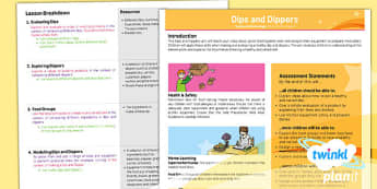 PlanIt - Design and Technology KS1 - Dips and Dippers Planning Overview