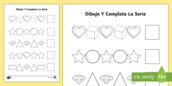 Completa la serie - Formas geométricas - Día de la Madre - Día de la madre, Mother's day in Spain, formas geométricas, shapes, dibujar, draw,Spanish