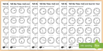 Year 2 Telling the Time Differentiated  Activity Sheets - Australian Curriculum Geometry and Measurement, time, telling the time, worksheets, differentiated,