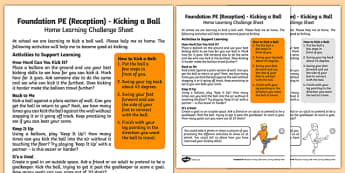 Foundation PE (Reception) - Kicking a Ball Home Learning Challenge Sheet - EYFS, PE, Physical Development, Planning