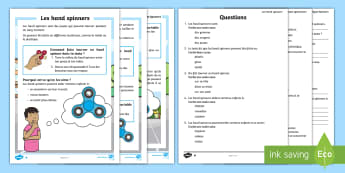 Compréhension écrite différenciée: Les hand spinners - KS1, cycle 2, lecture, reading, compréhension écrite, reading comprehension, hand spinner, fidget