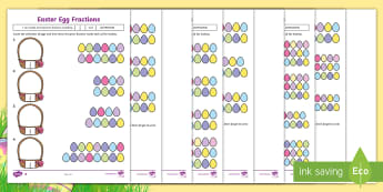 Easter Egg Fractions Differentiated Activity Sheets - Australia Easter Maths, Easter, Australia, mathematics, year 3, ACMNA058, fractions, fraction of a c
