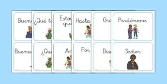 Tarjetas de vocabulario DIN A5 de saludos - presentarme, presentaciones, introducion, introducir, hacer amigos, iniciar conversacion