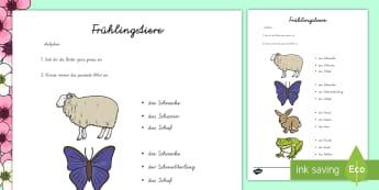 Tiere im Frühling - Welcher Satz passt? Arbeitsblatt - Frühling, Tiere, Schnecke, Igel, Lamm....,German