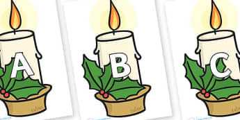 A-Z Alphabet on Christmas Candles - A-Z, A4, display, Alphabet frieze, Display letters, Letter posters, A-Z letters, Alphabet flashcards