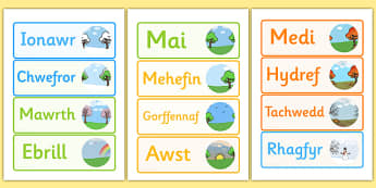 Months of the Year Word Cards Welsh - months, year, cards, welsh