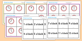 O' Clock Time Bingo - Time bingo, time game, Time resource, Time vocaulary, clock face, Oclock, half past, quarter past, quarter to, shapes spaces measures