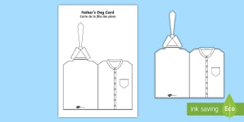 Father's Day Shirt and Tie Cut and Colour Craft Card English/French - Fathers Day Shirt And Tie Card - card template, fathers day card, tempelte, templet, EAL, English/Fr