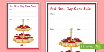 Red Nose Day Cake Sale Display Poster - red nose day, cake sale, comic relief, charity