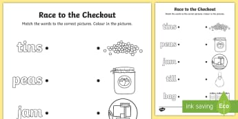 Race to the Checkout Word and Picture Matching Activity Sheet - ROI, Worksheet, Aistear, Exploring my World, Supermarket,Irish