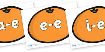 Split Digraphs on Satsumas - Modifying E, letters, modify, Phase 5, Phase five, alternative spellings for phonemes, DfES letters and Sounds
