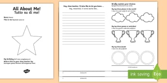 All About Me Transition Booklet English/Italian - moving class, new teacher, home school leaflet, parents, KS2, EAL