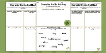 Character Profile Dad Dug Worksheet to Support Teaching on Ug - ug, dad, worksheet