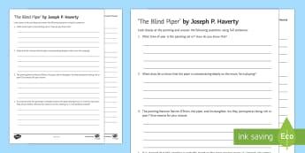 The Blind Piper Art Appreciation Activity Sheet - Irish Art Resources, art strands, display resources, art appreciation, activity sheet, artist, perso - Irish Art Resources, art strands, display resources, art appreciation, activity sheet, worksheet,