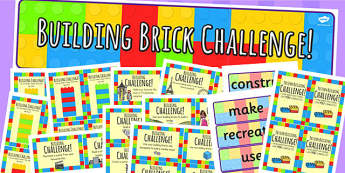 Building Brick Challenge Area Pack - challenges, games, activities
