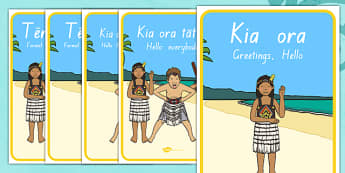 Greetings Display Posters - Te Reo Māori Resources, Greetings
