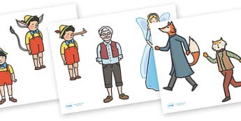 Pinocchio Stick Puppets - Pinocchio, Geppetto, Blue Fairy, wand, father, boy, puppet, story, story book, story sequencing, story resources, stick puppet, puppet show, cat, dog, ears and tail, nose, magic tree, coins, raft, school, son, child, shrink,